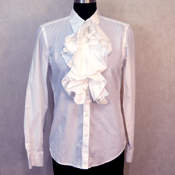 afd199bb Ralph Lauren Tops | Ruffle White Button Down Shirt Small | Poshmark